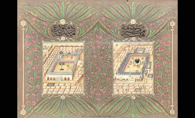 Two images of Mecca and the mosque of the Prophet at Medina , signed by Rafiq Al 'Adluni