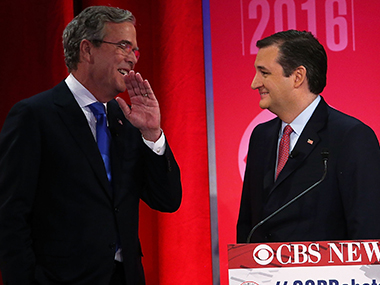 A file photo of Ted Cruz and Jeb Bush. Getty images