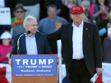 File photo of Jeff Sessions and Donald Trump. AP