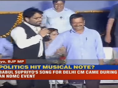 BJP's Babul Supriyo (left) and Delhi CM Arvind Kejriwal. Screenshot from CNN-IBN video