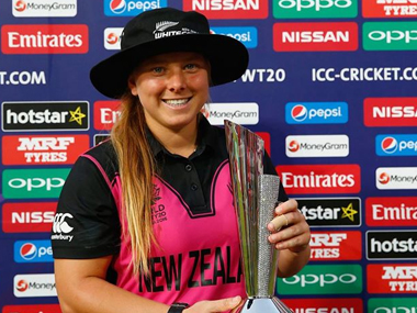 Leigh Kasperek at the World T20. Image Credit: White Ferns  official Facebook page