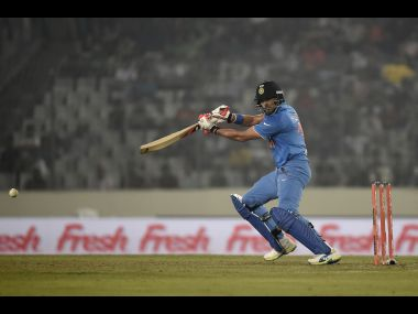 Yuvraj Singh plays a shot during the match against Pakistan. AFP