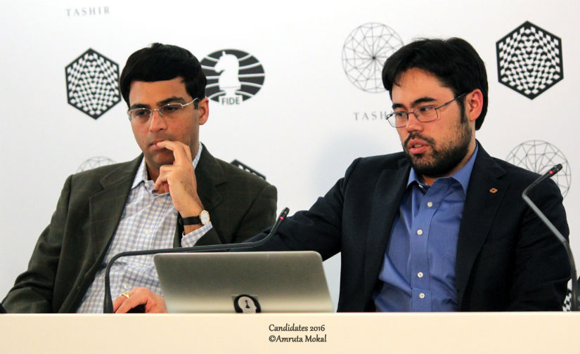 Anand (left) during the media conference with Nakamura. The Indian ace did not utter a single word during the interaction. Amruta Mokal