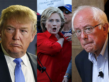 Donald Trump, Hillary Clinton and Bernie Sanders. Reuters