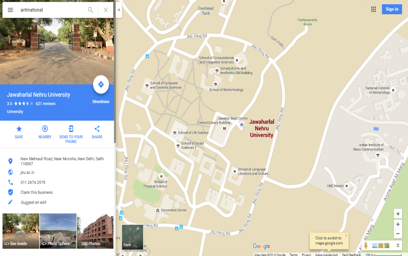 Screenshot of Google Maps locating JNU for the keyword 'antinational'.