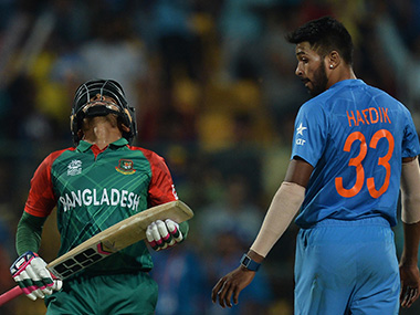 Mushfiqur Rahim is crestfallen after getting dismissed off a Hardik Pandya ball during Bangladesh's World T20 match against India at the Chinnaswamy Stadium in Bengaluru on Wednesday. AFP
