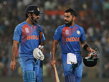 Virat Kohli and Mahendra Singh Dhoni after the win against Pakistan on Saturday. Solaris Images