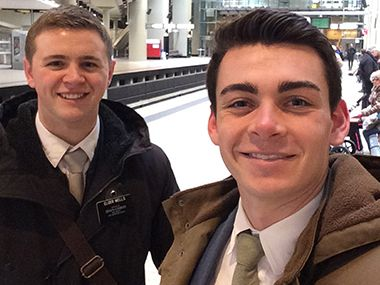 This undated photo provided by Chad Wells shows Mormon missionaries Mason Wells (left) and Joseph Empey. They both were injured in Tuesday's explosion at the Brussels airport