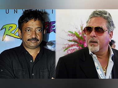 Ram Gopal Varma (L) has suggested that Vijay Mallya pay off his substantial bank debts with 'his bikini beauties'. Images from AFP and Getty