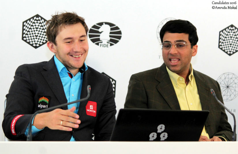 Vishy fights back Anand beats Karjakin to jump back into joint lead in Candidates Chess