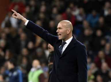 Zinedine Zidane during the last-16 match against Roma in Bernabeu on Tuesday. AFP