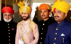 Indian cricketer Ravindra Jadeja with his relatives during his wedding ceremony in Rajkot on Sunday. PTI Photo