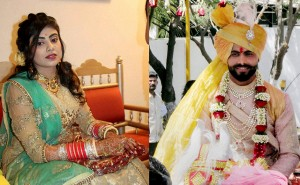 Combo photo of Indian cricketer Ravindra Jadeja and Riva Solanki during thier wedding ceremony in Rajkot on Sunday. PTI Photo