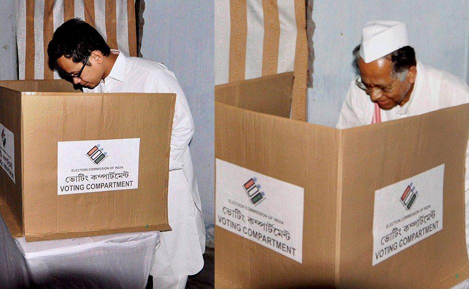Jorhat: Congress MP Gaurav Gogoi, son of Tarun Gogoi Chief Minister of Assam and Assam Chief Minister Tarun Gogoi castes his vote during the 1st phase of Assam state Assembly election 2016 at Jorhat in Assam on Monday. PTI Photo