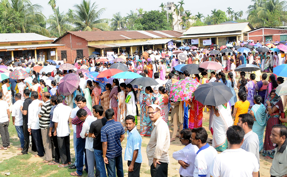 Voters in Assam thronged polling booths to cast their vote on the second and final phase of assembly election in Kamrup district on Monday. PIB
