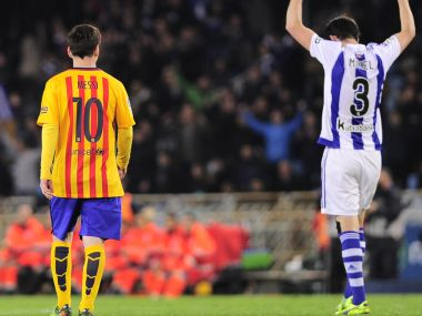 Lionel Messi after the defeat against Real Sociedad. AFP