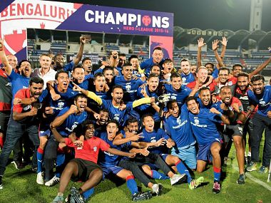 Bengaluru FC players celebrating their I-League title win after beating Salgaocar FC. PTI