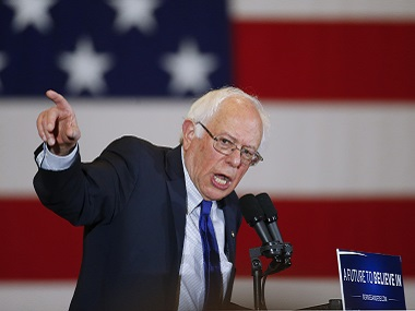 Democratic presidential candidate Bernie Sanders during a campaign event on Monday. AP