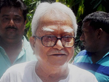 Left Front Chairman and CPM Politburo member Biman Bose cast his vote at a polling station in Kolkata on Thursday. PTI
