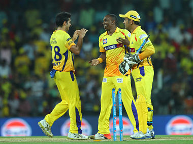 Dwayne Bravo of the Chennai Superkings celebrates the win with MS Dhoni captain of the Chennai Super Kings. BCCI