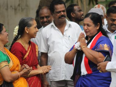 AIADMK candidate CR Sarawasthi interacts with voters in Tamil Nadu.