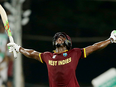 Carlos Brathwaite after hitting four consecutive sixes to power West Indies to victory over England in World T20 final. Solaris