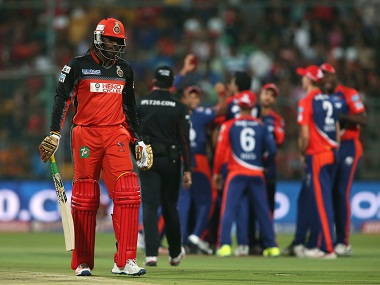 Chris Gayle of Royal Challengers Bangalore leaves the field after being dismissed. BCCI
