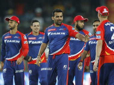 Delhi Daredevils captain Zaheer Khan celebrates with his teammates. BCCI