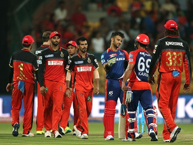 Delhi Daredevils' JP Duminy and Karun Nair celebrate the win over Royal Challengers Bangalore. BCCI