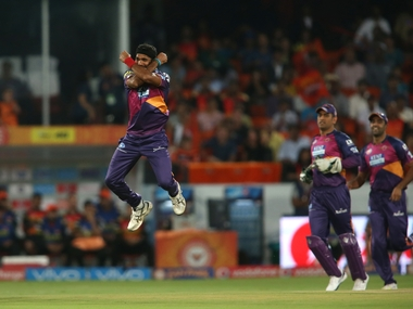 Ashok Dinda does a Ronaldo celebration after dismissing Warner. BCCI