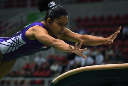 Dipa Karmakar at the artistic gymnastics test event Women's Vault final. AFP