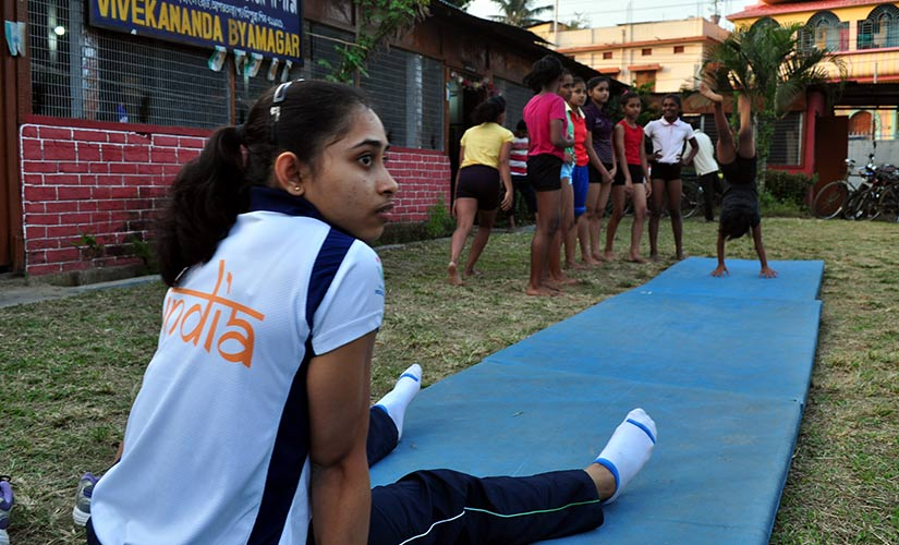 Dipa during a training sessions in Tripura. Firstpost