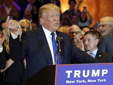 Republican presidential candidate Donald Trump speaks during a New York primary night campaign event, Tuesday, April 19, 2016, in New York. (AP Photo/Julie Jacobson)