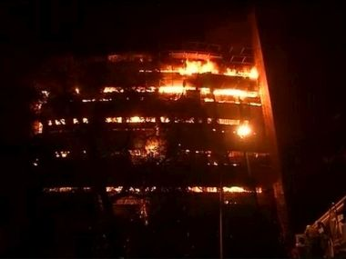 The fire safety mechanism at the FICCI building was not working. Image courtesy: CNN News18/Twitter