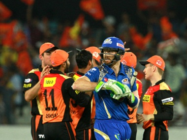 Mumbai Indians' Martin Guptill walks back after being dismissed. BCCI