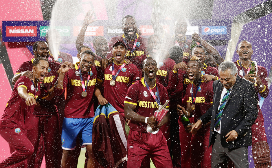 The victorious West Indies team with the ICC World T20 title. AP