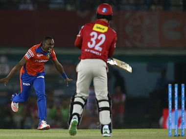 Dwayne Bravo of Gujarat Lions celebrates after bowling Glenn Maxwell of Kings XI Punjab. BCCI