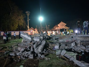 The site of the fire at Puttingal Devi Temple in Kerala's Kollam. AFP