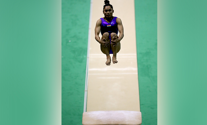 Dipa Karmakar on her way to gold. Getty Images