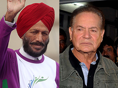 File photo of Milkha Singh and Salim Khan. Getty Images