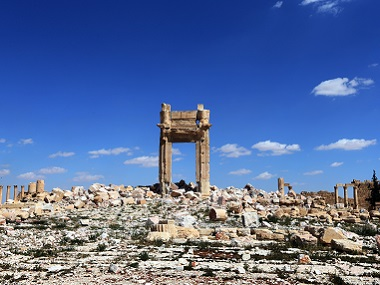 "Remains of Temple of Bel's ""Cella"", which was blown up by jihadists of the Islamic State (IS) group, in Palmyra. AFP"