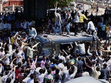 """Members of Patidar community during the """"Jail Bharo Andolan"""" to demand the release of Convener of Patidar Anamat Aandolan Samiti Hardik Patel in Surat on Sunday. PTI"""