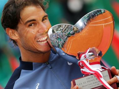 Rafael Nadal holds his trophy during the awarding ceremony  at the Monte-Carlo ATP Masters. AFP