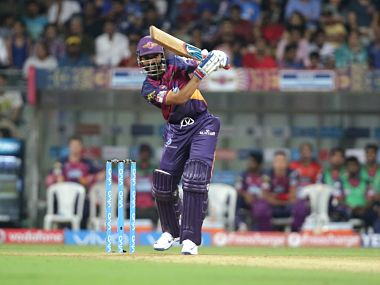 Ajinkya Rahane of Pune Supergiants plays a shot during match 1 of the Vivo Indian Premier League ( IPL ) 2016 between the Mumbai Indians and the Rising Pune Supergiants held at the Wankhede Stadium. BCCI