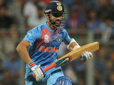 Ajinkya Rahane sets off for a single during the semi-final against West Indies at Wankhede on Friday. AP