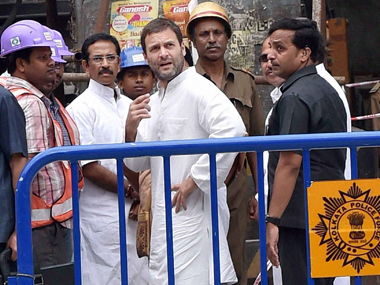 Rahul Gandhi at the site of the flyover crash in Kolkata. PTI