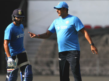 Ravi Shastri (right) in discussion with Rohit Sharma in a file picture. Solaris Images