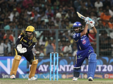 Rohit Sharma (right) top-scored for Mumbai in their six-wicket win over KKR earlier in the tournament. Sportzpics/IPL