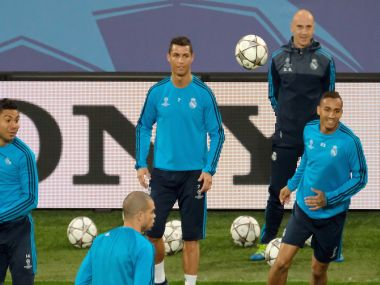 Cristiano Ronaldo trains with teammates at the Volkswagen Arena in Wolfsburg. AP