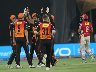 Sunrisers Hyderabad celebrate the wicket of Murali Vijay of Kings XI Punjab. BCCI
